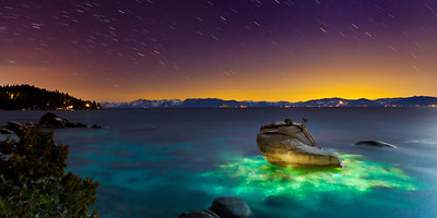 Bonsai Rock, Lake Tahoe, Nevada.  Underwater Light Painting and Star Trails.